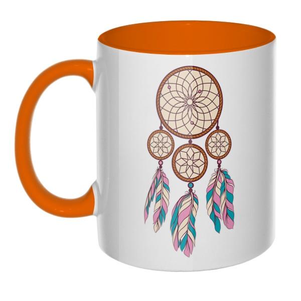Индейский амулет, кружка цветная внутри и ручка