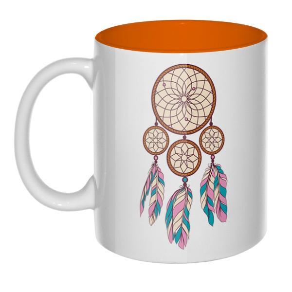 Индейский амулет, кружка цветная внутри