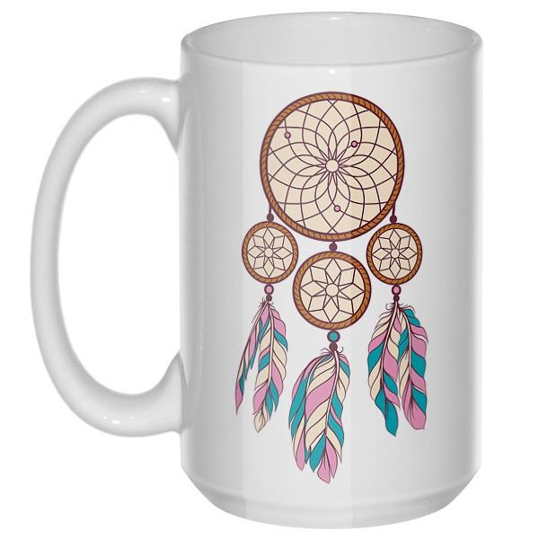 Индейский амулет, большая кружка с круглой ручкой