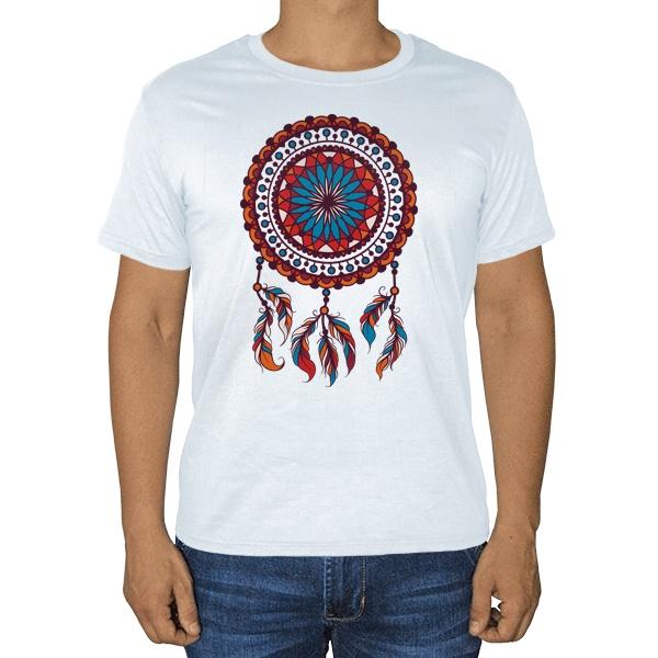 Индейский амулет Ловец снов, белая футболка