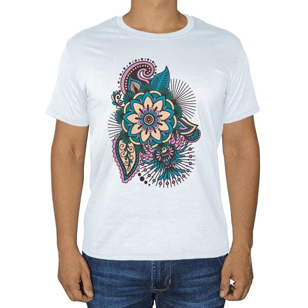 Индийский узор, белая футболка