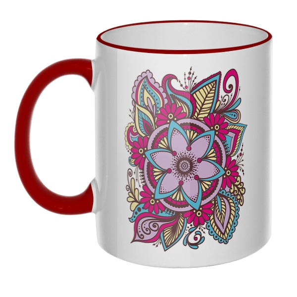 Кружка Узор из цветов с цветным ободком и ручкой