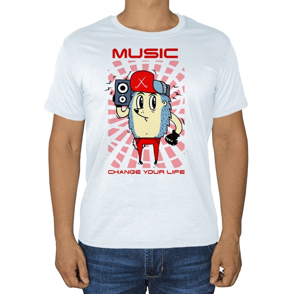 Музыка меняет твою жизнь, белая футболка