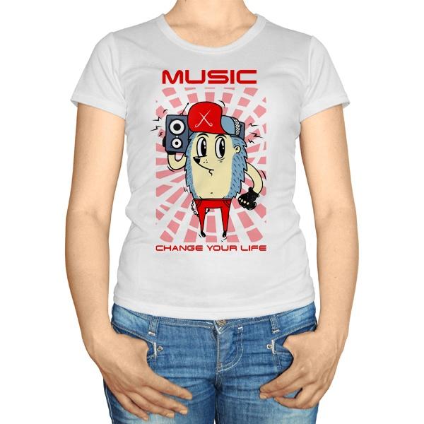 Женская футболка Музыка меняет твою жизнь