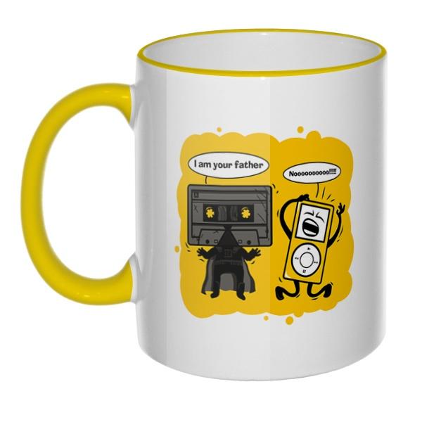 Кружка I am your father с цветным ободком и ручкой, цвет желтый