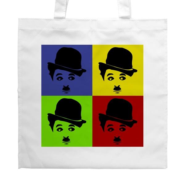 Белая сумка Чарли Чаплин в стиле поп-арт