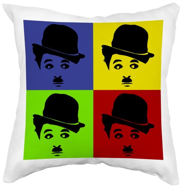Подушка белая Чарли Чаплин в стиле поп-арт