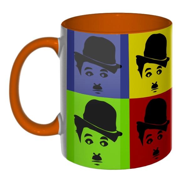 3D-кружка Чарли Чаплин поп-арт цветная внутри и ручка