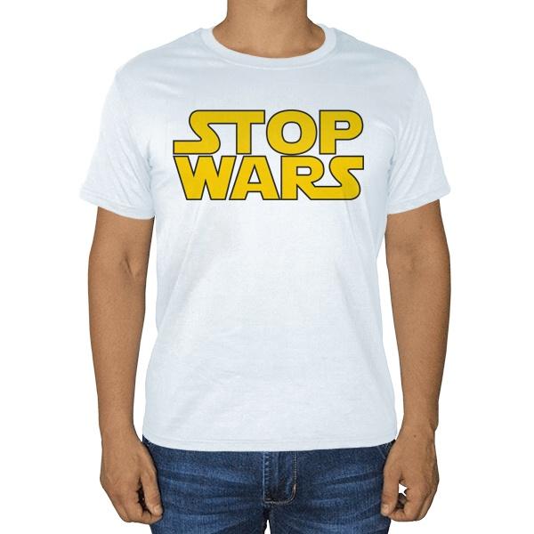 Белая футболка Stop Wars, цвет белый