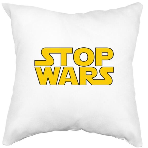 Подушка белая Stop Wars