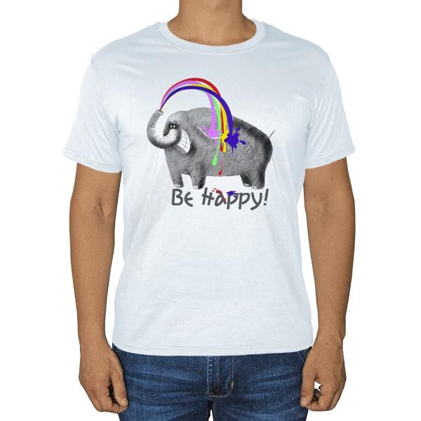 Be happy, белая футболка