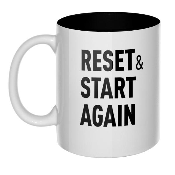 Кружка цветная внутри Reset and Start again