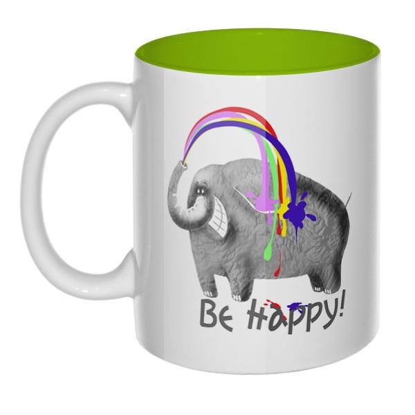 Be happy, кружка цветная внутри