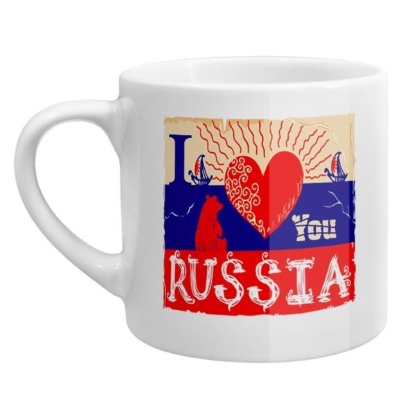 Кофейная чашка I love you Russia