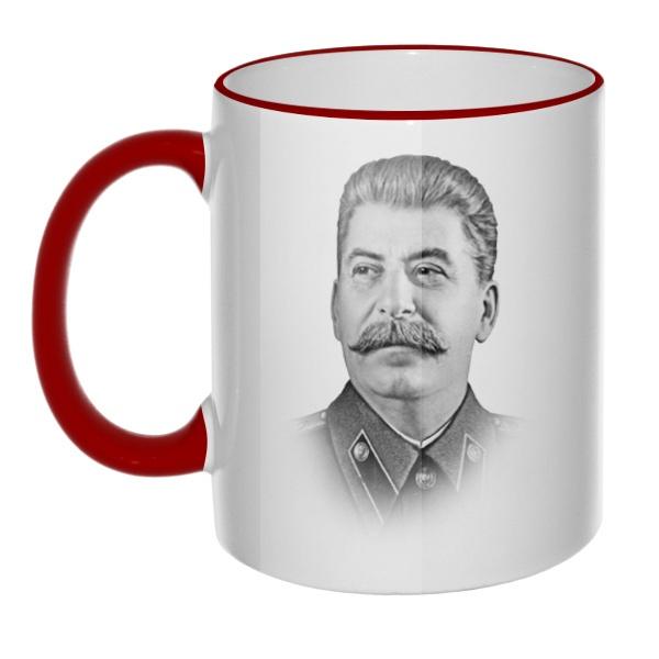Кружка Сталин с цветным ободком и ручкой