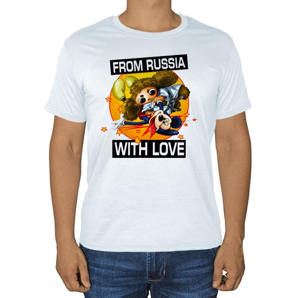Cheburashka from russia with love, белая футболка
