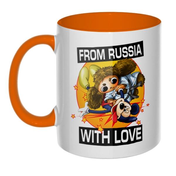 Cheburashka from russia with love, кружка цветная внутри и ручка