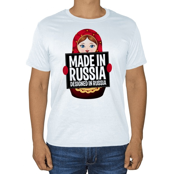 Матрешка Made in Russia, белая футболка