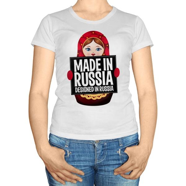 Женская футболка Матрешка Made in Russia