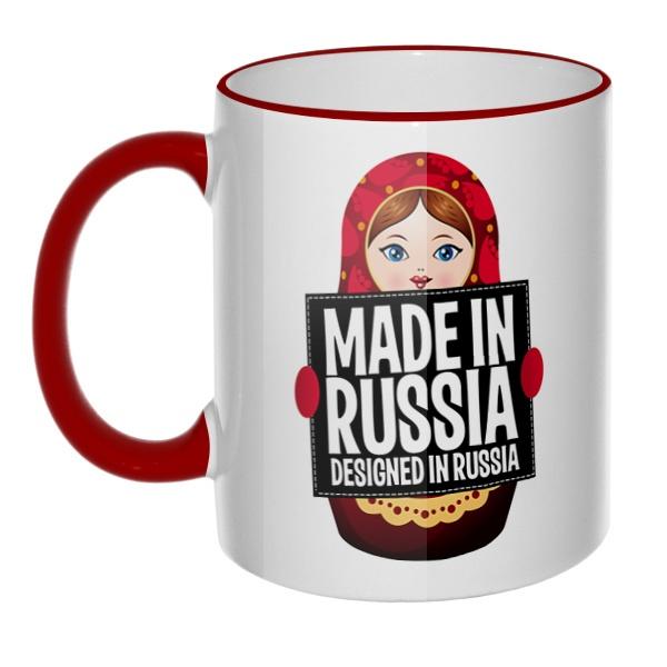 Кружка Матрешка Made in Russia с цветным ободком и ручкой
