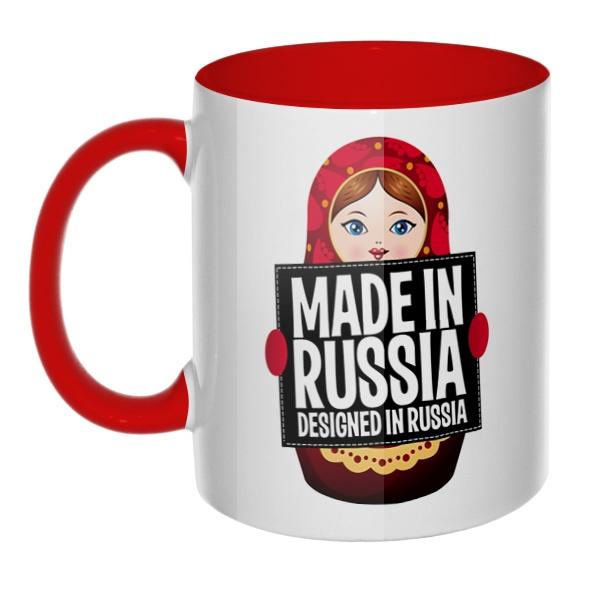 Матрешка Made in Russia, кружка цветная внутри и ручка