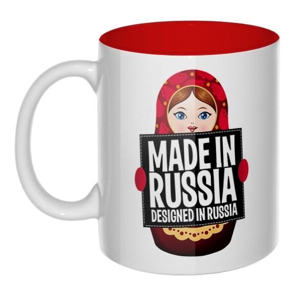 Матрешка Made in Russia, кружка цветная внутри