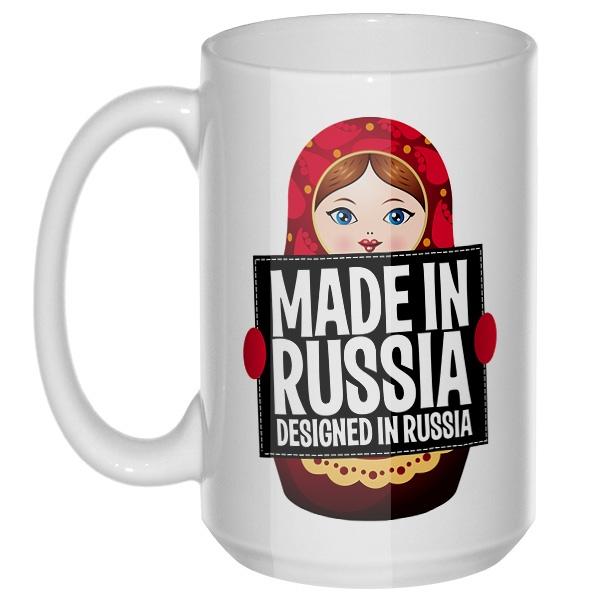 Матрешка Made in Russia, большая кружка с круглой ручкой