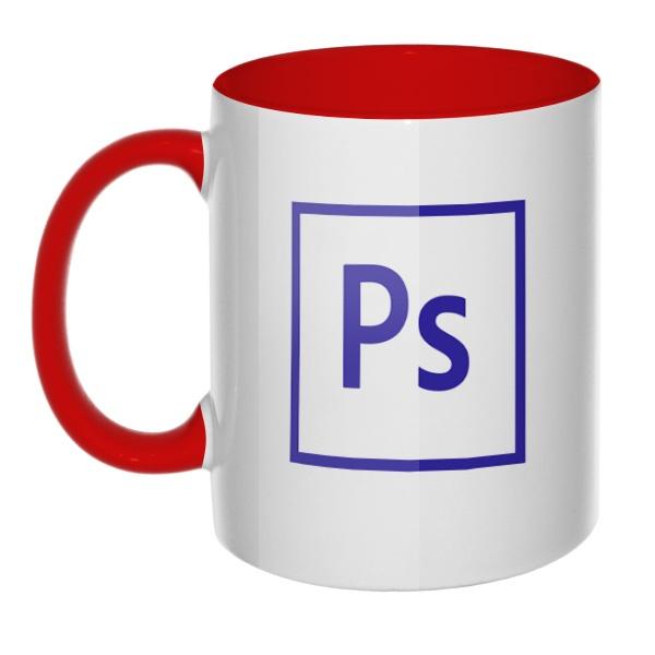 Кружка Логотип Фотошоп цветная внутри и ручка