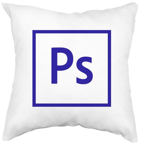 Подушка белая Логотип Фотошоп