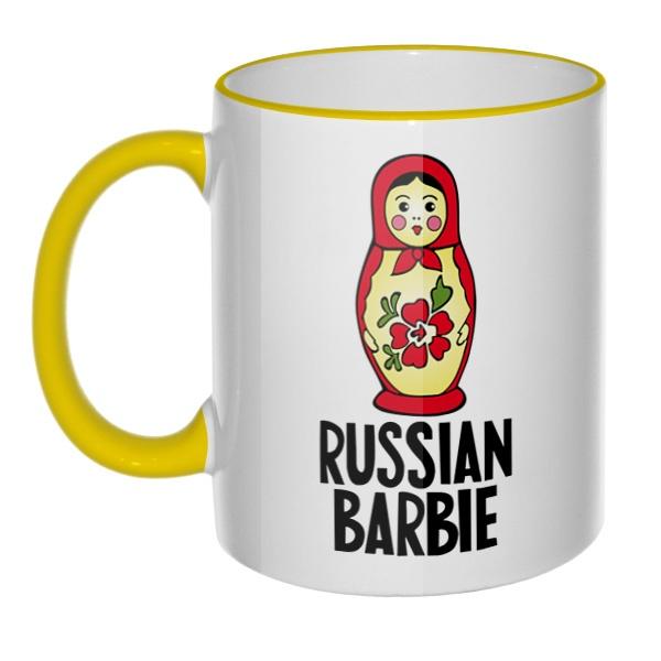 Кружка Russian Barbie с цветным ободком и ручкой