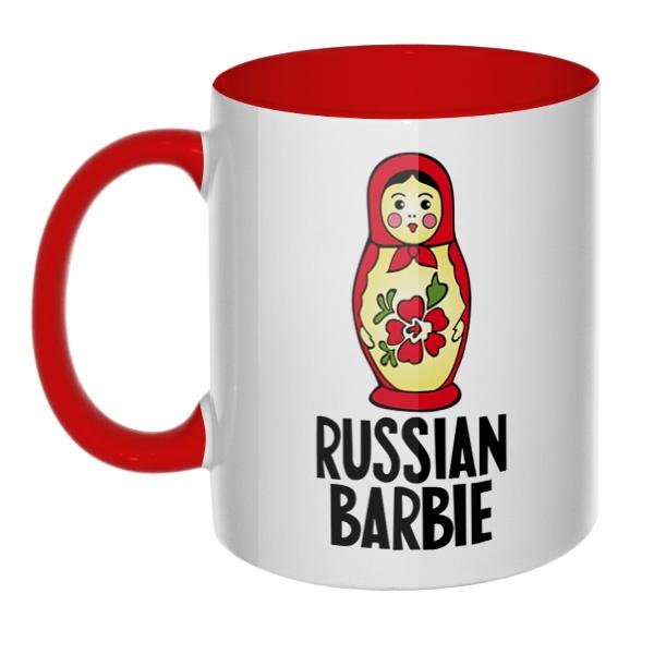 Russian Barbie, кружка цветная внутри и ручка