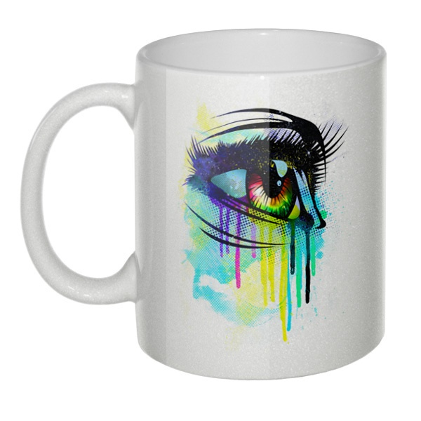 Кружка перламутровая Рисунок женского глаза
