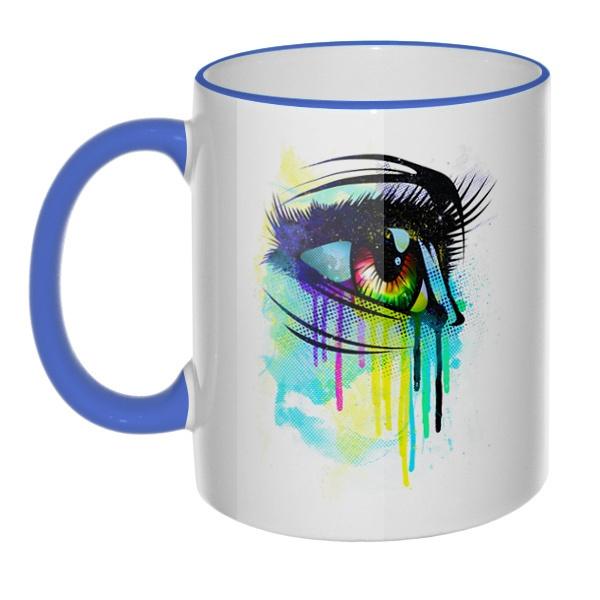 Кружка Рисунок женского глаза с цветным ободком и ручкой