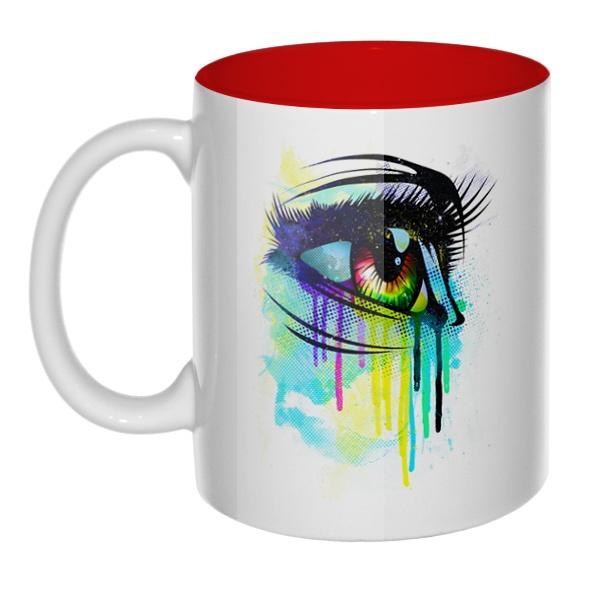 Рисунок женского глаза, кружка цветная внутри