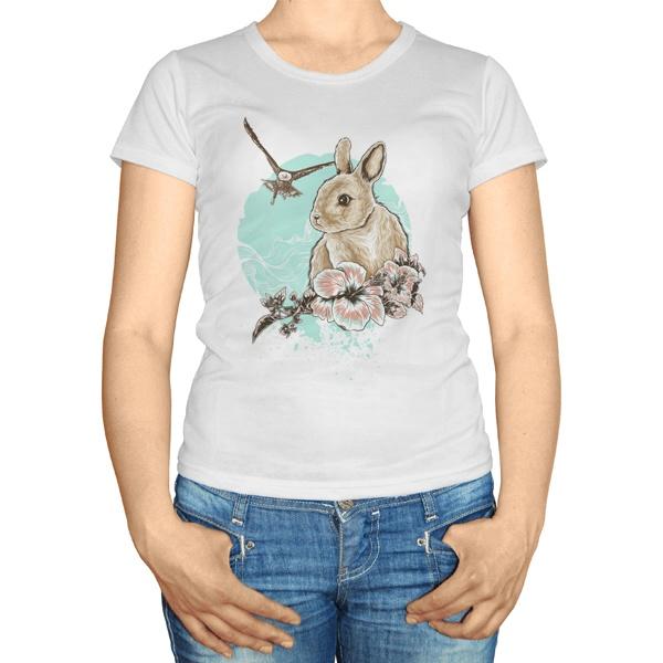 Женская футболка Заяц и орел