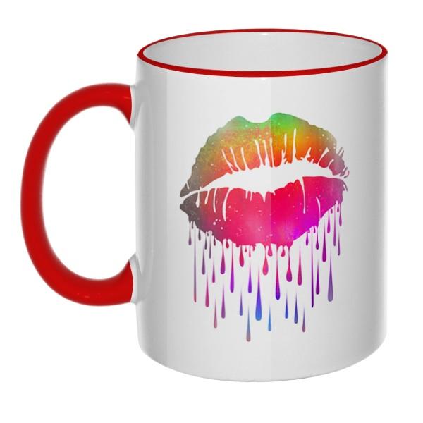 Кружка Радужный поцелуй с цветным ободком и ручкой