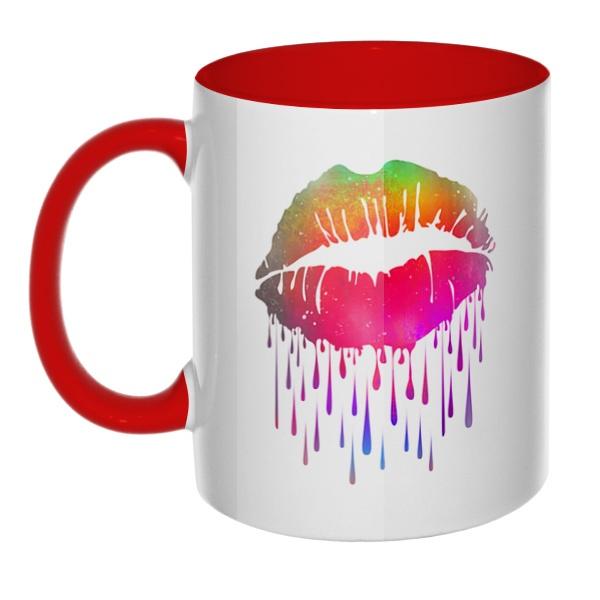 Радужный поцелуй, кружка цветная внутри и ручка