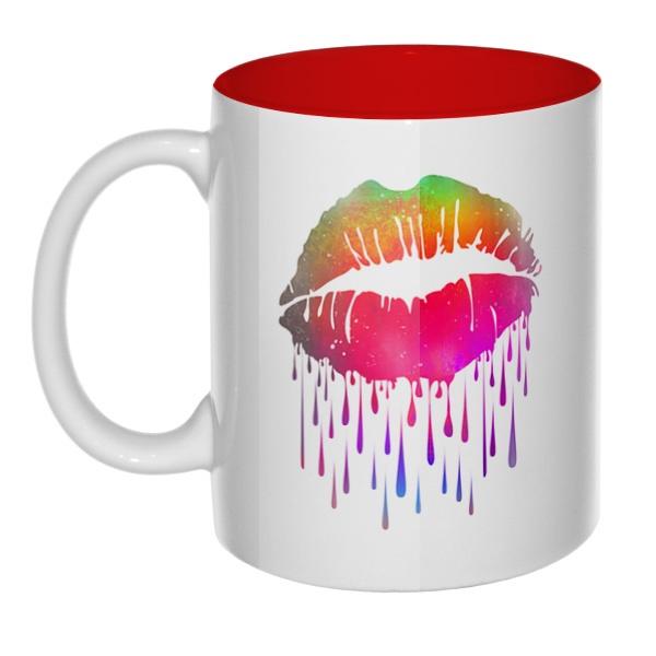 Радужный поцелуй, кружка цветная внутри