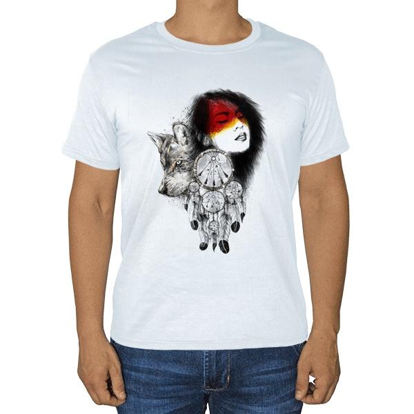 Девушка, волк и ловец снов, белая футболка