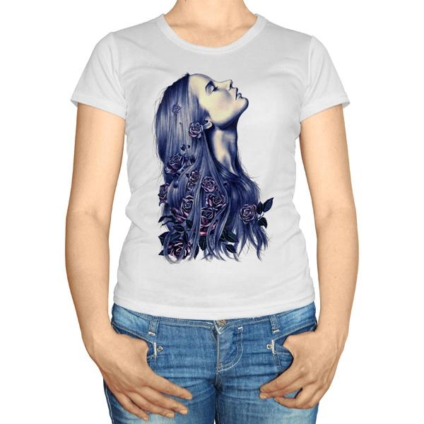 Женская футболка Девушка с цветами в волосах
