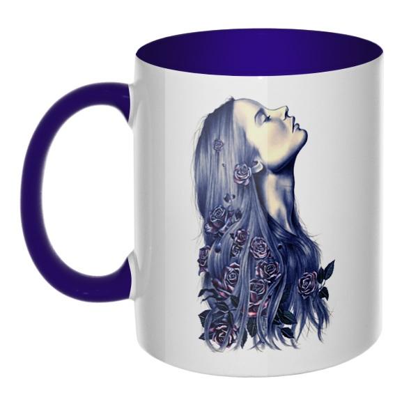 Девушка с цветами в волосах, кружка цветная внутри и ручка