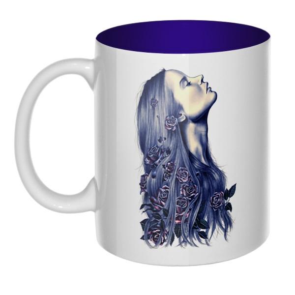 Девушка с цветами в волосах, кружка цветная внутри