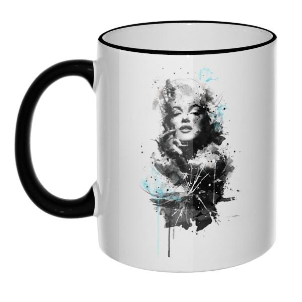Кружка Marilyn Monroe с цветным ободком и ручкой
