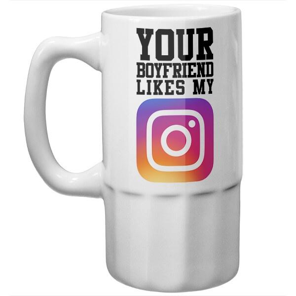 Пивная кружка Your boyfriend likes my Instagram