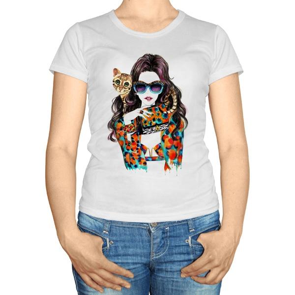 Женская футболка Модная девушка с кошкой