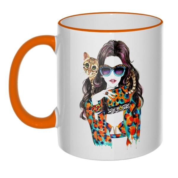 Кружка Модная девушка с кошкой с цветным ободком и ручкой