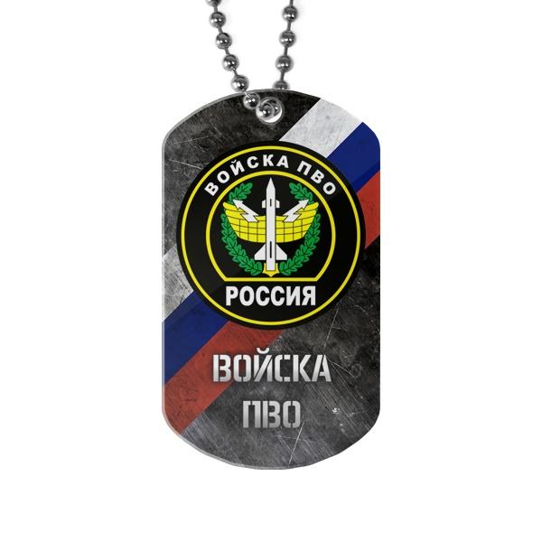 Жетон ПВО с флагом России на фоне, цвет белый