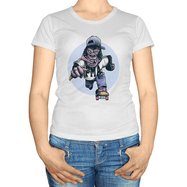 Женская футболка Горилла на скейте