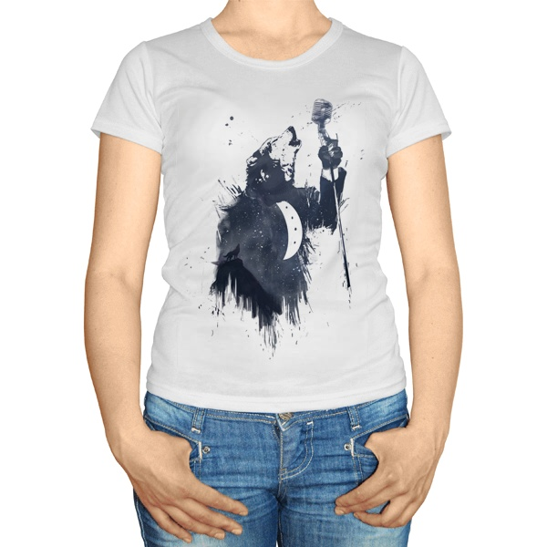 Женская футболка Волк воет в микрофон