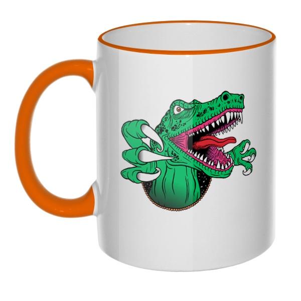 Кружка Крокодил с цветным ободком и ручкой